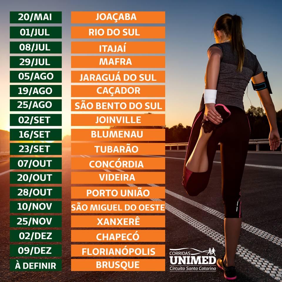 Circuito Unimed : Corridas unimed divulga circuito de corridas em santa catarina