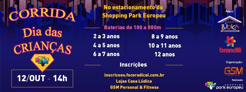 Shopping Park Europeu, de Blumenau, promove Corrida Dia das Crianças nesta sexta (12)