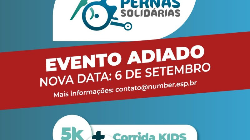Corrida Pernas Solidárias é adiada para 6 de setembro